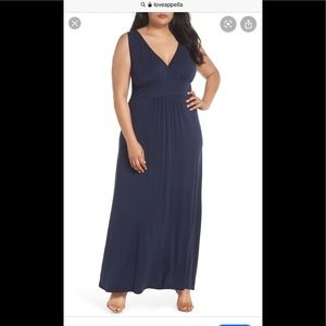 Loveapella Navy Blue Column Style Maxi Dress